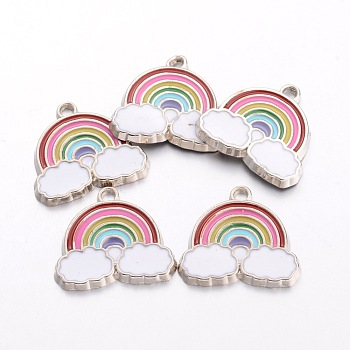 Alloy Enamel Pendants, Rainbow & Cloud Charms, for Children Kids Jewelry Making, Platinum, Cadmium Free & Nickel Free & Lead Free, Colorful, 17.5x19x1.6mm, Hole: 2mm