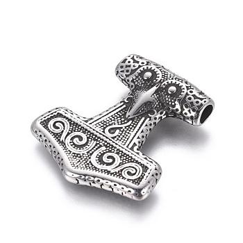 304 подвески из нержавеющей стали, молот Тора, античное серебро, 36x32.5x7 мм, отверстие : 4.5x3.5 мм