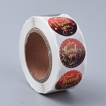 Thank You Stickers, Adhesive Roll Sticker Labels, for Envelopes, Bubble Mailers and Bags, Dark Red, 25mm; about 500pcs/roll