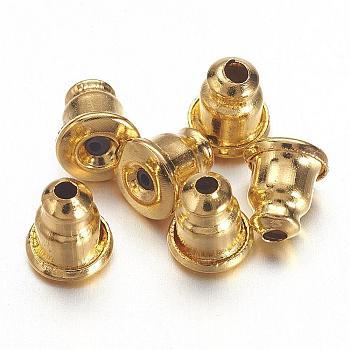 Tuercas de oreja de latón, pendientes de bala, color de oro, aproximamente 5 mm de largo, 5 mm de ancho, agujero: 1 mm