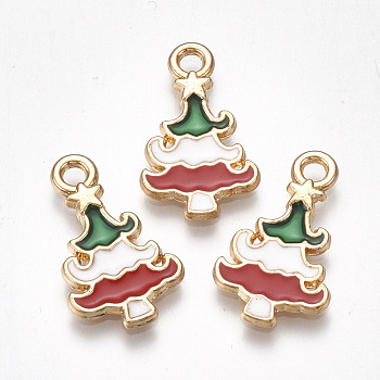 Colgantes de la aleación, sin plomo y cadmio, con esmalte, árbol de Navidad, la luz de oro, colorido, 20x12x2mm, agujero: 2 mm