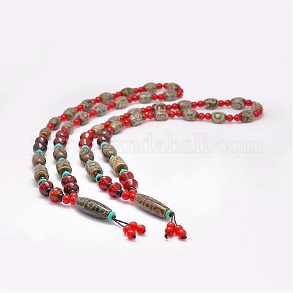 Buddhist Jewelry Natural Tibetan Agate Beaded NecklacesNJEW-F131-16-1