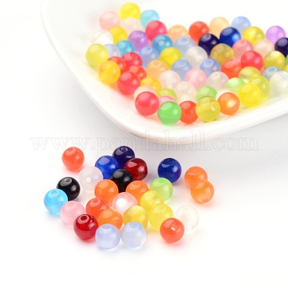 Mixed Color Round Imitated Cat Eye Resin BeadsX-RB001Y-1