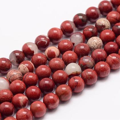Natural Red Jasper Bead StrandsG-K153-B19-8mm-1
