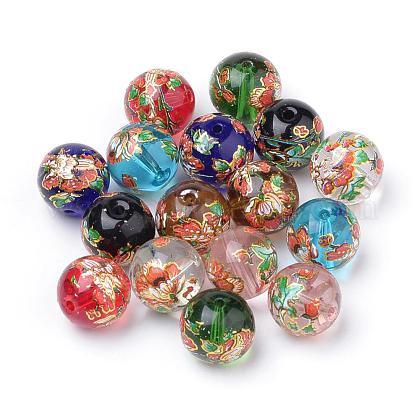 Цветочный узор напечатаны круглые стеклянные бусиныGFB-Q001-12mm-B-1