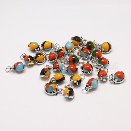 Colgantes de cristal hechos a mano millefiori redondas mixtosLAMP-A147-10-1