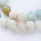 Frosted Natural Amazonite Round Bead Strands G-J363-01-8mm-3