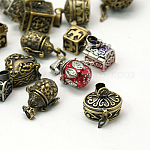 Brass Prayer Box Pendants, Mixed Shapes and Mixed Color, about 9~20mm wide, 14~28mm long, 10~20mm thick, hole: 1.5~5mm