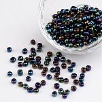 6/0 Electroplated Iris Round Glass Seed Beads, PrussianBlue, 4mm, Hole: 1mm; about 495pcs/50g