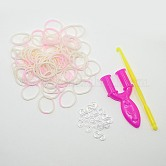 (在庫処分セール), 輪ゴム詰め替え, ツールとプラスチックのクリップ付き, ホワイト, フック:80x6x3ミリ。ツール:25x54x7ミリ。クリップ:11x6x2ミリ。バンド:6x1ミリ。約260個/袋