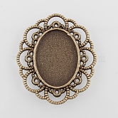 Filigree Wrap Oval Alloy Cabochon Settings, Nickel Free, Antique Bronze, Tray: 25x18mm; 41x35x2mm; about 144pcs/kg