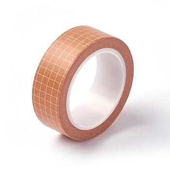 DIYスクラップブック装飾用マスキングテープ  グリッド模様  オレンジ  15ミリメートル、約10 M /ロール