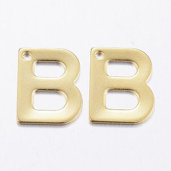 Encantos de 304 acero inoxidable, letter.b, dorado, 11x9x0.8mm, agujero: 1 mm