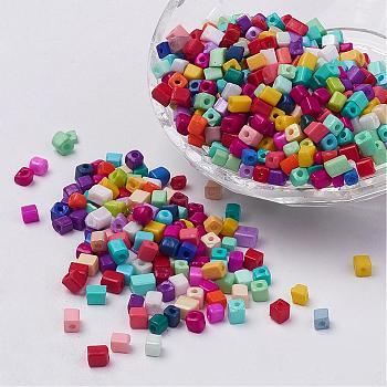 Abalorios de la semilla de cristal opaco colores del cubo, agujero redondo, color mezclado, 3~7x3~4x3~4mm, agujero: 0.5 mm, aproximamente 500 unidades / 50 g