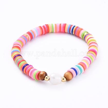 Handmade Polymer Clay Heishi Bead Stretch BraceletsBJEW-JB05095-05-1