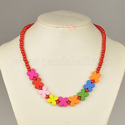 Colorful Wood Necklaces for Kids NJEW-JN00306-01-1