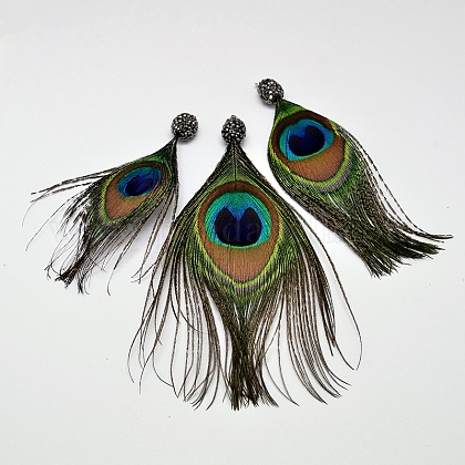 Pluma del pavo real colgantes grandesRB-I074-01-1