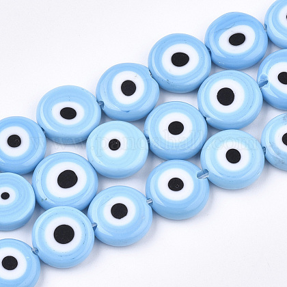 Handmade Evil Eye Lampwork Beads Strands X-LAMP-S191-02D-09-1