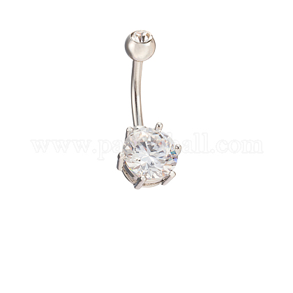 Platinum Plated Body Jewelry Cubic Zirconia Brass Navel Ring Belly Rings AJEW-EE0001-05B-1