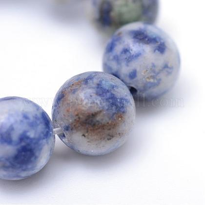 丸染めの天然ブルースポットジャスパービーズ連売りG-R345-10mm-14-1