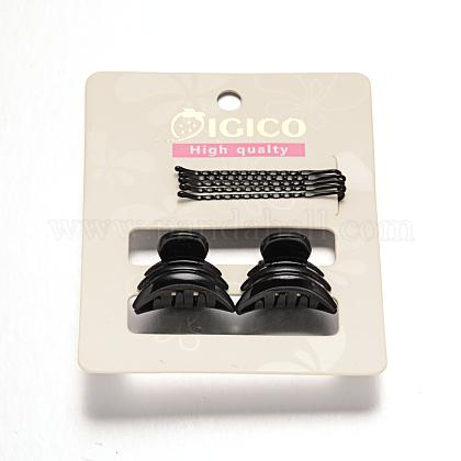 Gunmetal plateado pelo hierro horquillas y accesorios de plástico de la garra del pelo pinzas para el cabello conjuntosOHAR-M020-05-1