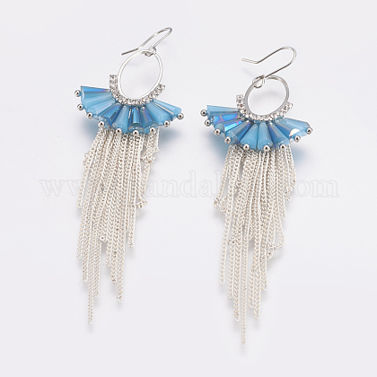 Glass Dangle Chandelier Earrings EJEW-I206-T-01-1