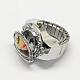 Platinum Tone Iron Stretch Ring Quartz WatchesRJEW-R119-08N-2