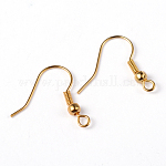 Brass Earring Hooks, Ear Wire, with Beads, Golden, 19mm, Hole: 1.5mm, Pin: 0.7mm