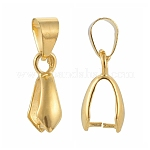 Brass Pinch Bails, Ice Pick, Golden, Size: about 7mm wide, 20mm long, Pinch: about 7mm wide, 14mm long, 8mm inner long, 5mm inner wide, hole: about 4x6mm