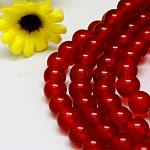 Natural Malaysia Jade Bead Strands, Round Dyed Beads, Red, 4mm, Hole: 1mm; about 92pcs/strand, 15