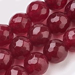 Natural Malaysia Jade Beads Strands, Dyed, Faceted, Round, Brown, 10mm, Hole: 1.2mm; about 37pcs/strand, 14.9inches