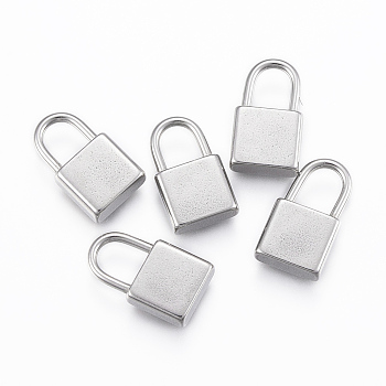 304 Stainless Steel Pendants, Padlock, Stainless Steel Color, 17.5x10x4mm, Hole: 7x5mm