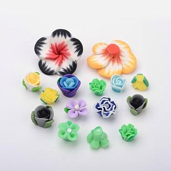 Cabochons en pâte polymère manuels, pour bricolage bricolage camée breloques fabrication de bijoux, fleur, couleur mixte, 11~35x8~12mm