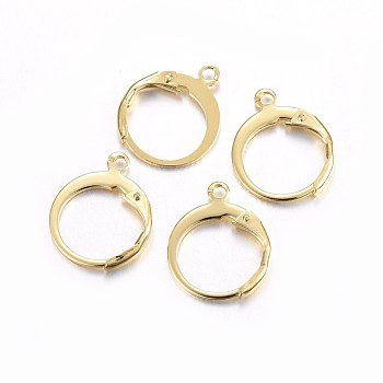 304 Stainless Steel Leverback Earring Findings, with Loop, Ring, Golden, 14.5x12x2mm, Hole: 1.2mm; Pin: 1x0.8mm