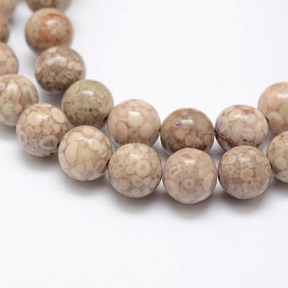 Natural Chrysanthemum Stone Beads StrandsG-P325-01-8mm-1