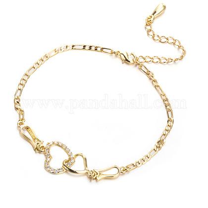 Brass Cubic Zirconia Link Chain BraceletsBJEW-EE0003-01G-1