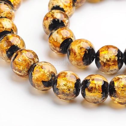 Perles rondes de feuille d'argent en verre manuellesFOIL-I006-12mm-01-1