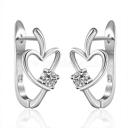 Vogue Design Heart Brass Cubic Zirconia Hoop Earrings EJEW-BB07966-S-1
