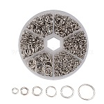1600 pcs Iron Close but Unsoldered Jump Rings, Metal Connectors for DIY Jewelry Crafting and Keychain Accessories, Platinum, 18~21 Gauge, 4~10x0.7~1mm; Inner Diameter: 2.6~8mm; about 1600pcs/box
