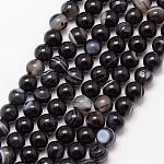 Chapelets de perles en agate rayée naturelle/agate à bandes, ronde, Grade a, teints et chauffée, noir, 6mm, trou: 1mm; environ 61 pcs/chapelet, 15