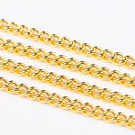 Iron Twisted Chains Curb Chains, Unwelded, with Spool, Golden, Link: 2x3mm, 0.5mm thick, 100m/roll
