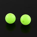 Fluorescent Acrylic Beads, Round, GreenYellow, 8mm, Hole: 1.5mm; about 1700pcs/500g