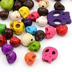 Abalorios de turquesa sintético, teñido, cráneo, para la fabricación de la joya de halloween, estilo mezclado, color mezclado, 10.5~22x9.5~20x4~11mm, agujero: 1 mm