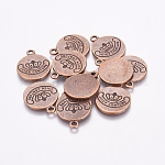 Alloy Pendants, Flat Round, Red Copper, Lead Free and Cadmium Free, 22.5x18x1.5mm, Hole: 2mm