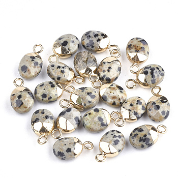 Electroplate Natural Dalmatian Jasper Charms, with Iron Findings, Faceted, Oval, Golden, 14~15x8x5~5.5mm, Hole: 1.8mm