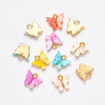 Colgantes de la aleación, con resina y polvo de purpurina, mariposa, dorado, color mezclado, 13x13~15x3.5mm, agujero: 2 mm