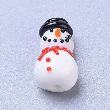 Abalorios de colores vario hechos a mano, muñeco de nieve de navidad de dibujos animados, blanco, 21.2x12.2x11mm, agujero: 1.4 mm