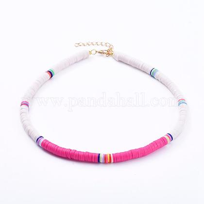 Collares hechos a mano de arcilla polimérica con cuentas de gargantilla heishiNJEW-JN02722-01-1