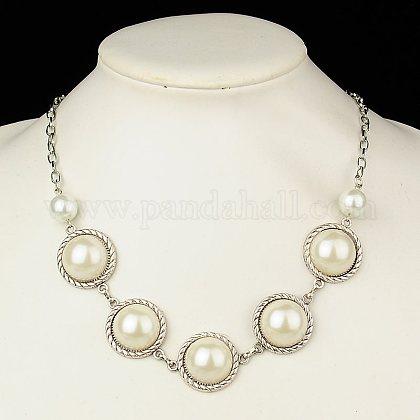 Collares de abalorios de vidrioNJEW-JN00494-01-1