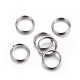 304 Stainless Steel Split Rings, Stainless Steel Color, 8x1mm; Inner Diameter: 7mm; Single Wire: 0.5mm